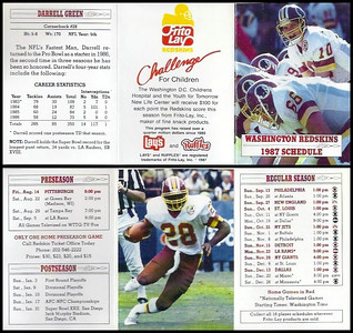 Darrell Green 1987 Frito Lay Redskins Schedules
