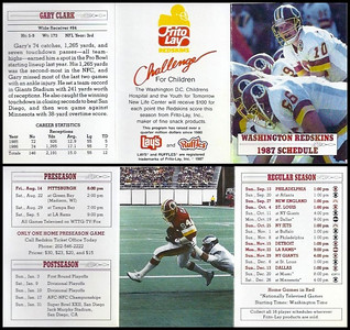 Gary Clark 1987 Frito Lay Redskins Schedules