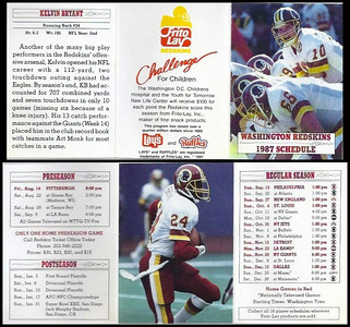 Kelvin Bryant 1987 Frito Lay Redskins Schedules
