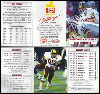 Don Warren 1987 Frito Lay Redskins Schedules