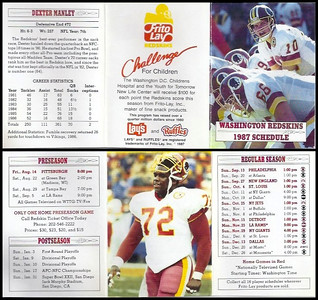Dexter Manley 1987 Frito Lay Redskins Schedules