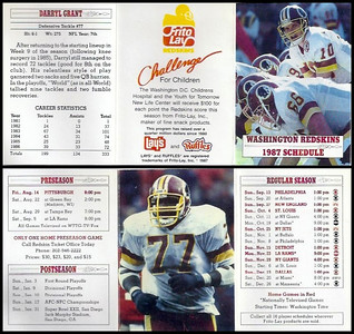 Darryl Grant 1987 Frito Lay Redskins Schedules