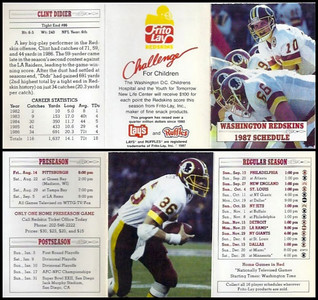 Clint Didier 1987 Frito Lay Redskins Schedules