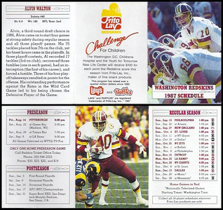 Alvin Walton 1987 Frito Lay Redskins Schedules