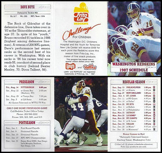 Dave Butz 1987 Frito Lay Redskins Schedules