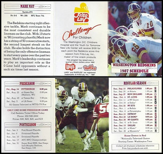 Mark May 1987 Frito Lay Redskins Schedules
