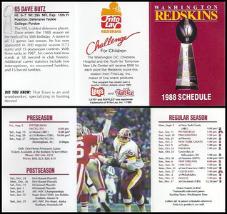 Dave Butz 1988 Frito Lay Redskins Schedules