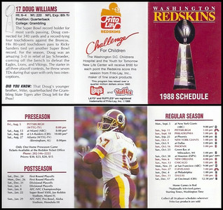 Doug Williams 1988 Frito Lay Redskins Schedules