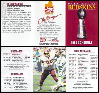 Don Warren 1988 Frito Lay Redskins Schedules