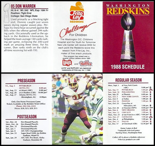 Don Warren 1988 Frito Lay Redskins Schedules