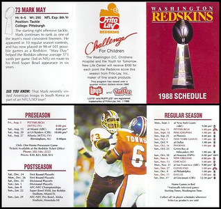 Mark May 1988 Frito Lay Redskins Schedules