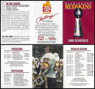 Joe Jacoby 1988 Frito Lay Redskins Schedules