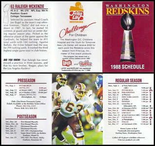 Raleigh McKenzie 1988 Frito Lay Redskins Schedules