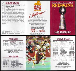 Alvin Walton 1988 Frito Lay Redskins Schedules