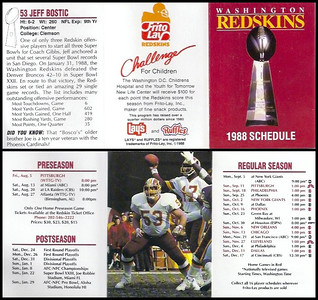 Jeff Bostic 1988 Frito Lay Redskins Schedules