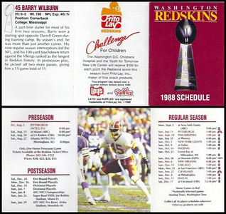 Barry Wilburn 1988 Frito Lay Redskins Schedules