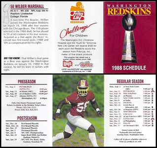 Wilber Marshall 1988 Frito Lay Redskins Schedules
