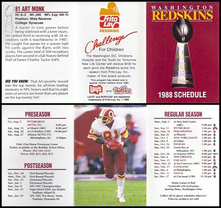 Art Monk 1988 Frito Lay Redskins Schedules