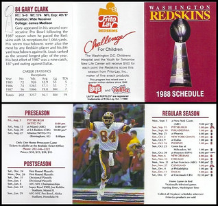 Gary Clark 1988 Frito Lay Redskins Schedules