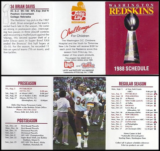 Brian Davis 1988 Frito Lay Redskins Schedules