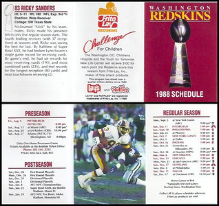Ricky Sanders 1988 Frito Lay Redskins Schedules