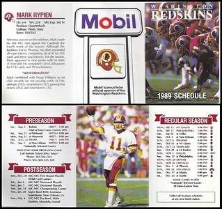 Mark Rypien 1989 Mobil Redskins Schedules