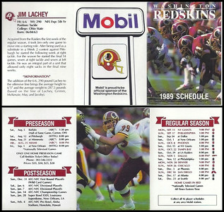Jim Lachey 1989 Mobil Redskins Schedules