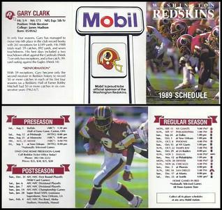 Gary Clark 1989 Mobil Redskins Schedules