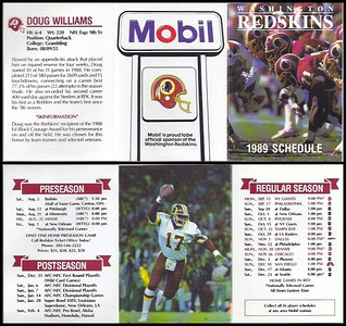 Doug Williams 1989 Mobil Redskins Schedules