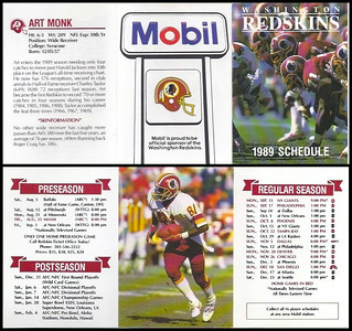 Art Monk 1989 Mobil Redskins Schedules