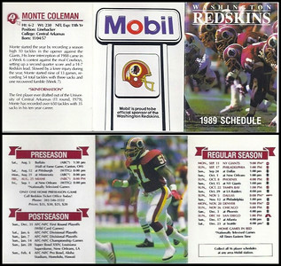 Monte Coleman 1989 Mobil Redskins Schedules