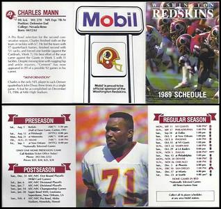 Charles Mann 1989 Mobil Redskins Schedules