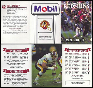 Joe Jacoby 1989 Mobil Redskins Schedules