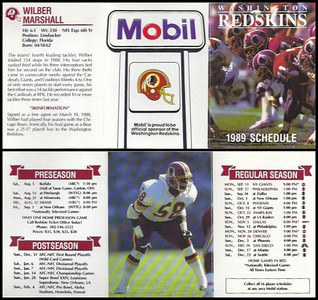 Wilber Marshall 1989 Mobil Redskins Schedules