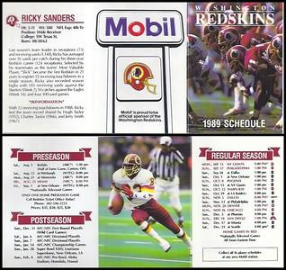 Ricky Sanders 1989 Mobil Redskins Schedules