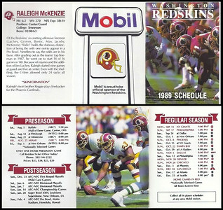 Raleigh McKenzie 1989 Mobil Redskins Schedules