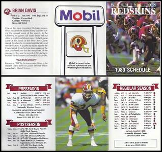 Brian Davis 1989 Mobil Redskins Schedules
