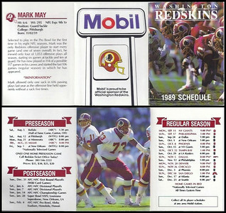 Mark May 1989 Mobil Redskins Schedules