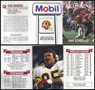 Don Warren 1989 Mobil Redskins Schedules