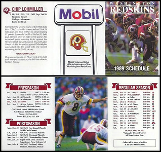 Chip Lohmiller 1989 Mobil Redskins Schedules