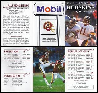 Ralf Mojsiejenko 1990 Mobil Redskins Schedule