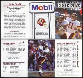 Gary Clark 1990 Mobil Redskins Schedule