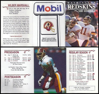 Wilber Marshall 1990 Mobil Redskins Schedule