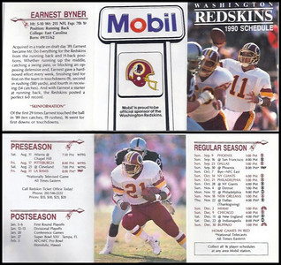 Earnest Byner 1990 Mobil Redskins Schedule