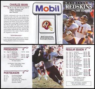 Charles Mann 1990 Mobil Redskins Schedule
