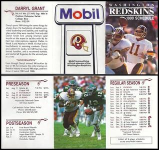 Darryl Grant 1990 Mobil Redskins Schedule