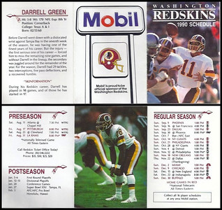 Darrell Green 1990 Mobil Redskins Schedule