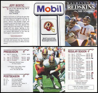 Jeff Bostic 1990 Mobil Redskins Schedule