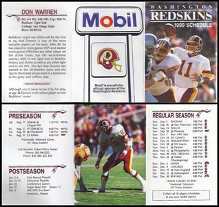 Don Warren 1990 Mobil Redskins Schedule