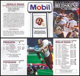 Gerald Riggs 1990 Mobil Redskins Schedule